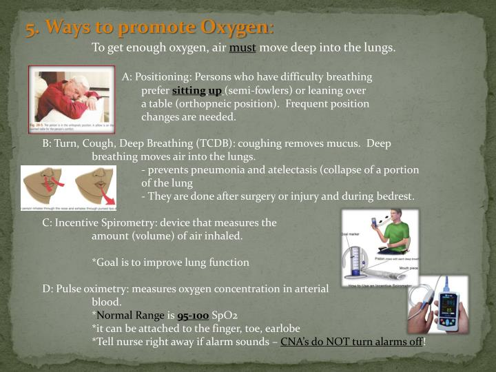 5. Ways to promote Oxygen