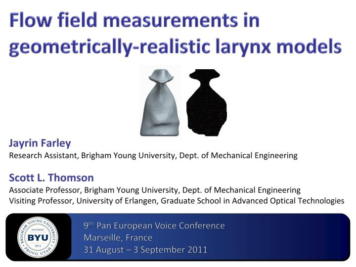 Flow field measurements in geometrically realistic larynx models