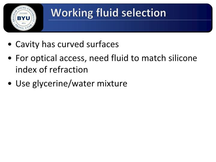 Working fluid selection
