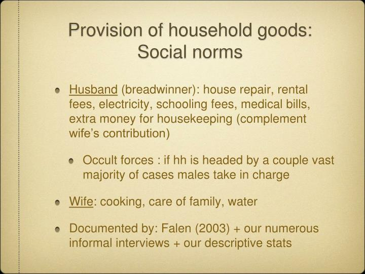 Provision of household goods: