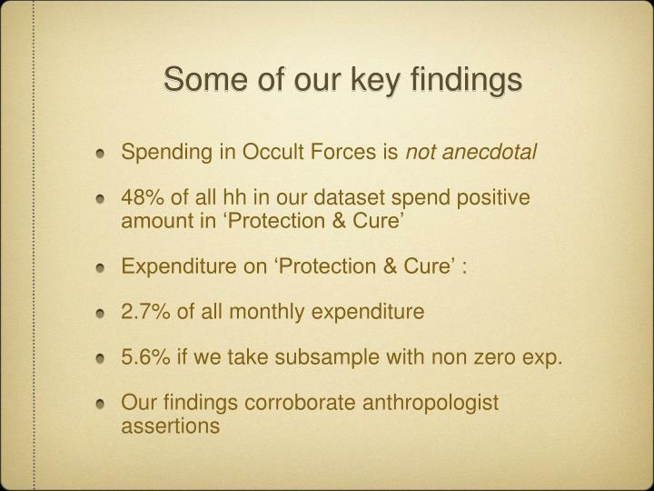 Some of our key findings
