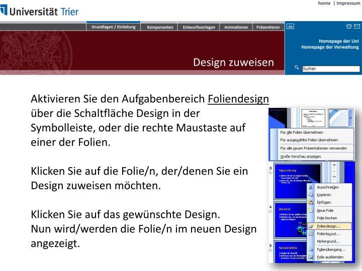 Design zuweisen
