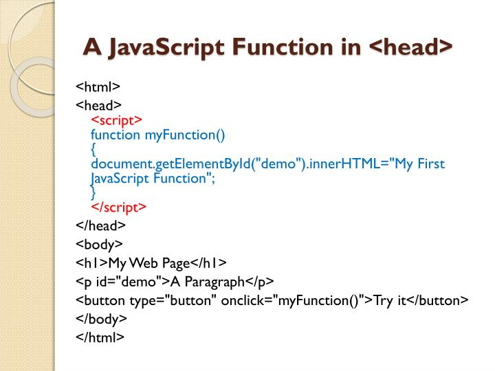 A JavaScript Function in <head>