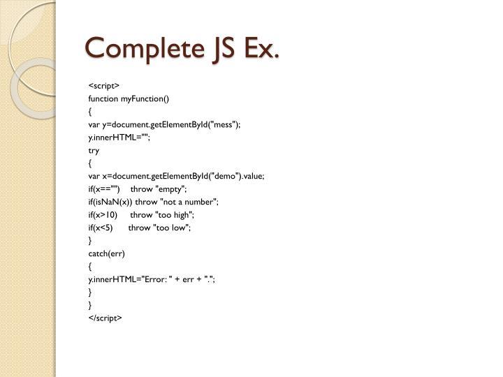 Complete JS Ex.