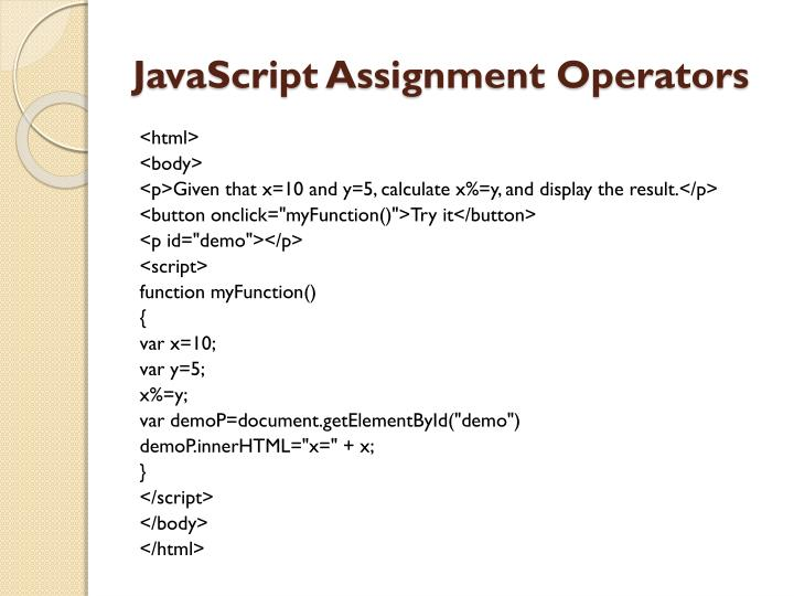 JavaScript Assignment Operators