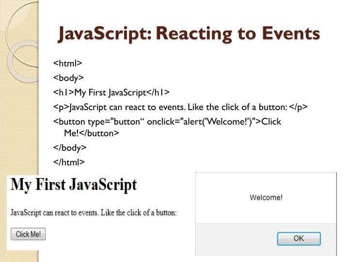Javascript reacting to events