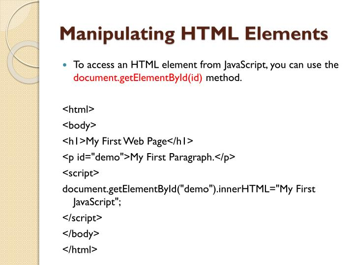 Manipulating HTML Elements