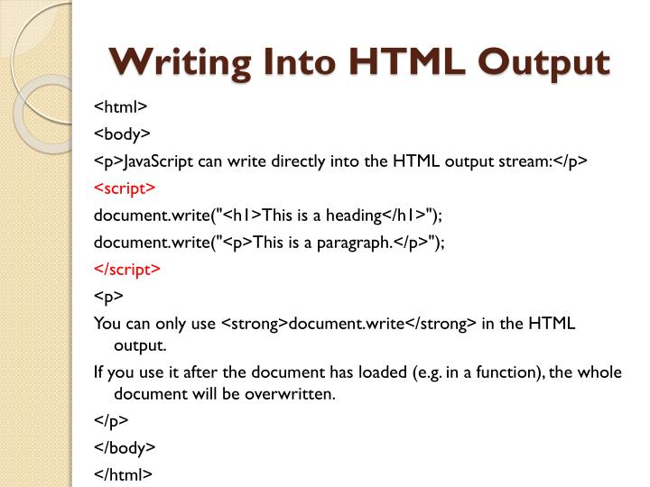 Writing into html output