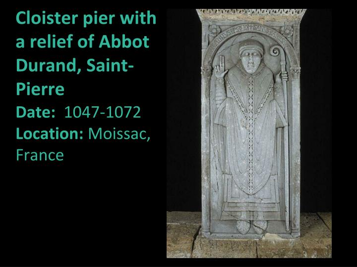 Cloister pier with a relief of Abbot Durand, Saint-Pierre