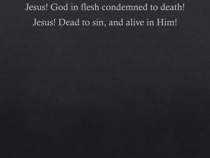 Jesus! God in flesh condemned to death!