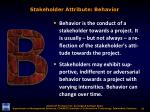 stakeholder attribute behavior