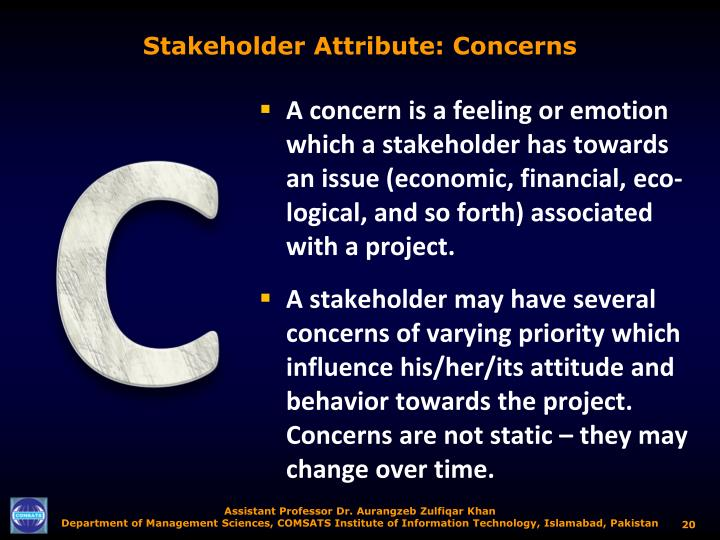 Stakeholder Attribute: Concerns