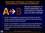 stakeholder attributes consistency and inconsistency of attitude and behavior2
