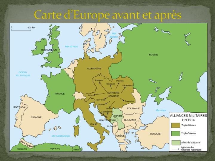 Carte d'Europe avant et après