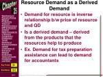 resource demand as a derived demand