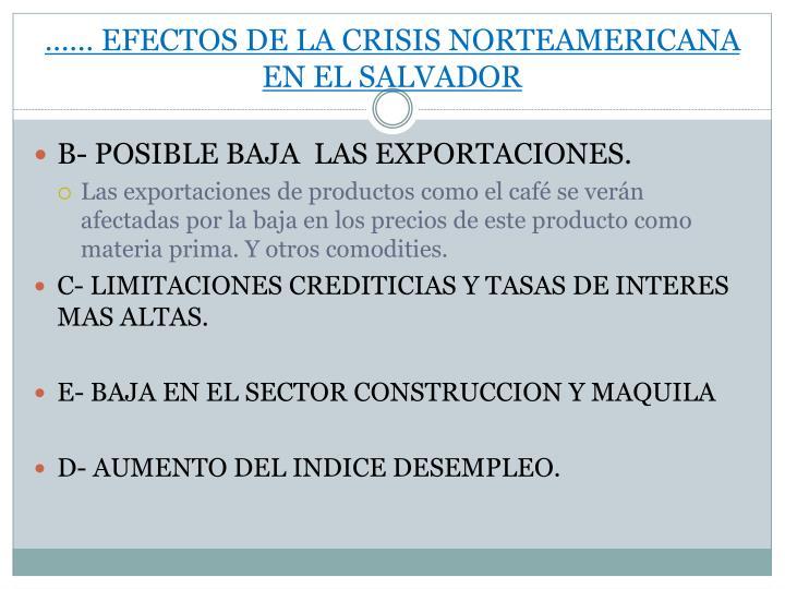 …… EFECTOS DE LA CRISIS NORTEAMERICANA EN EL SALVADOR
