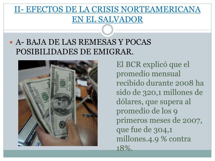 II- EFECTOS DE LA CRISIS NORTEAMERICANA EN EL SALVADOR