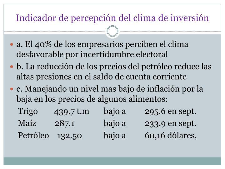 Indicador de percepción del clima de inversión