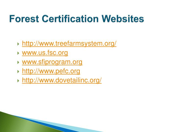 Forest Certification Websites