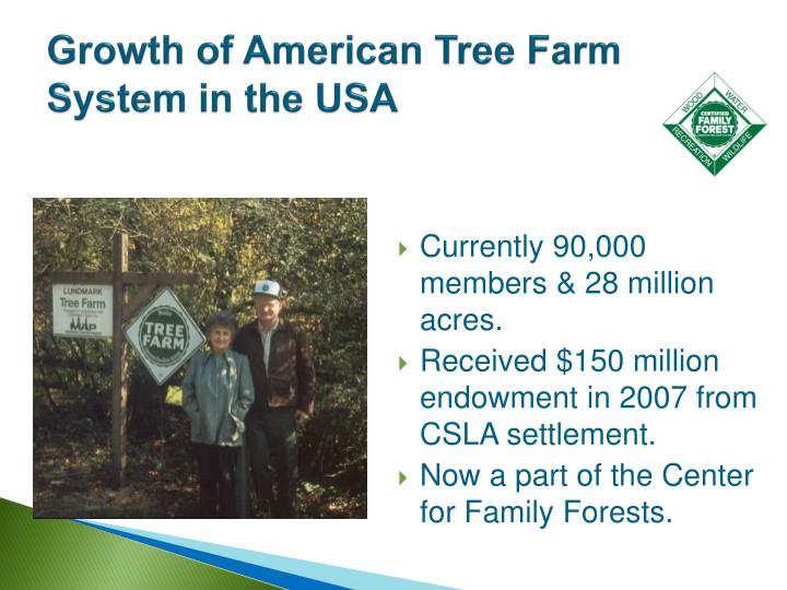 Growth of American Tree Farm System in the USA