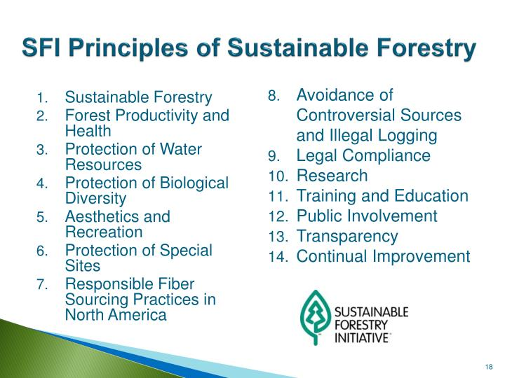 SFI Principles of Sustainable Forestry