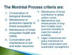 the montr al process criteria are