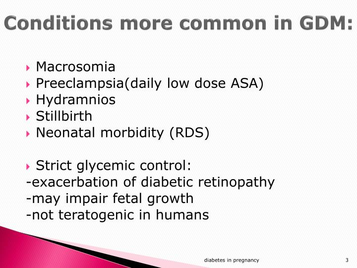 Conditions more common in gdm