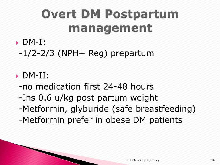 Overt DM Postpartum