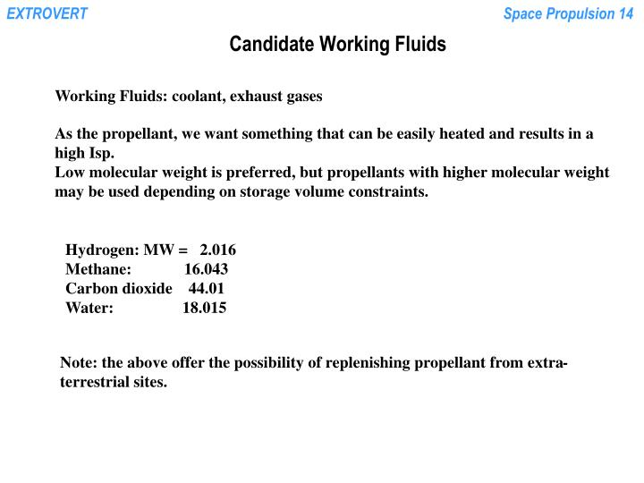 Candidate Working Fluids