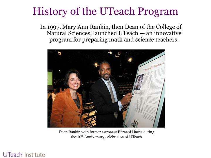 History of the uteach program
