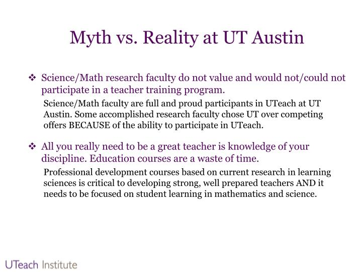 Myth vs. Reality at UT Austin