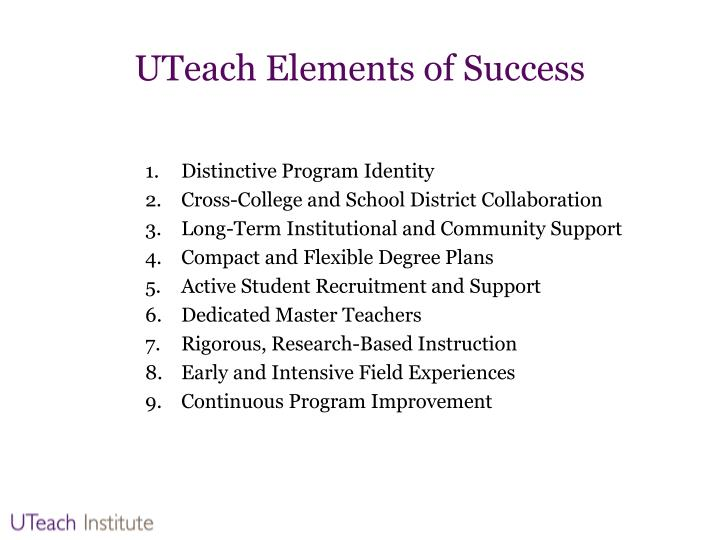 UTeach Elements of Success