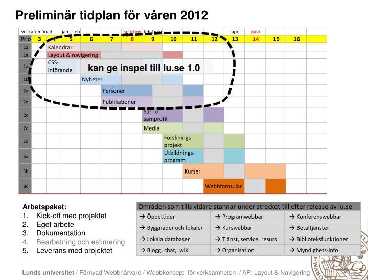 Preliminär tidplan för våren 2012