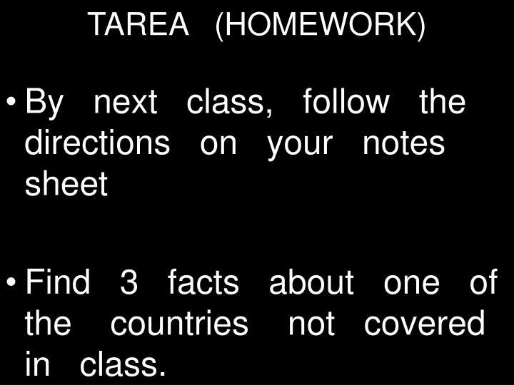 TAREA   (HOMEWORK)