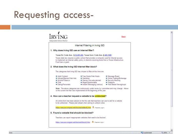 Requesting access-