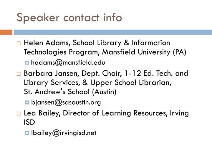 Speaker contact info