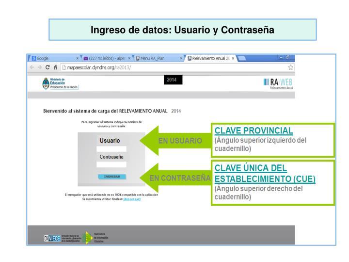 Ingreso de datos: Usuario y Contraseña