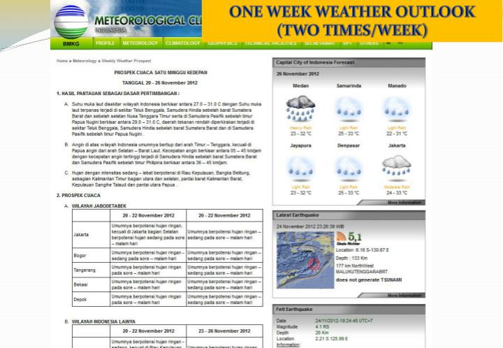 ONE WEEK WEATHER OUTLOOK