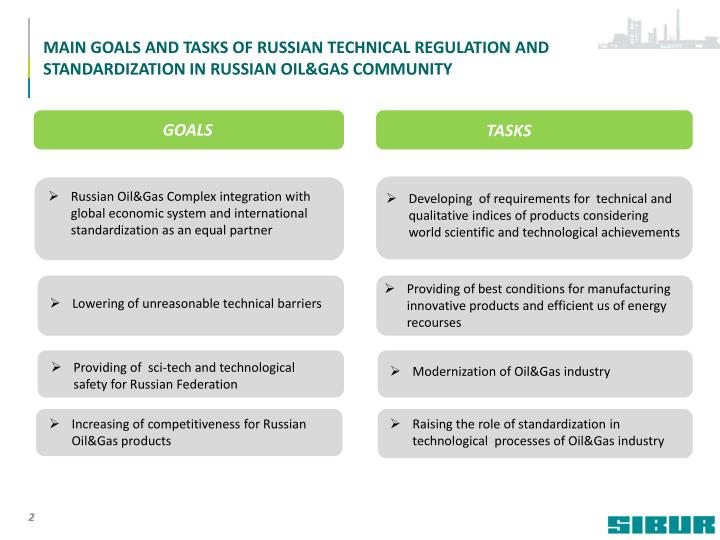 MAIN GOALS AND TASKS OF RUSSIAN TECHNICAL REGULATION AND STANDARDIZATION IN RUSSIAN OIL&GAS COMMUNIT...