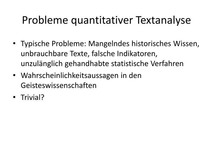 Probleme quantitativer Textanalyse