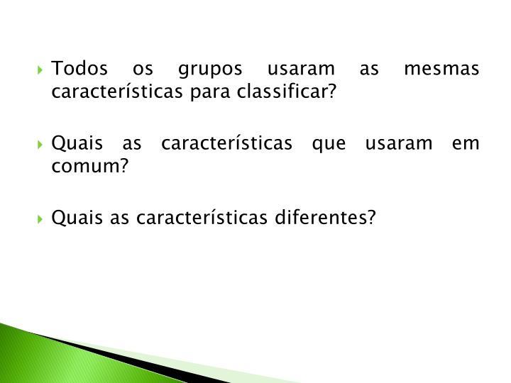 Todos os grupos usaram as mesmas características para classificar?
