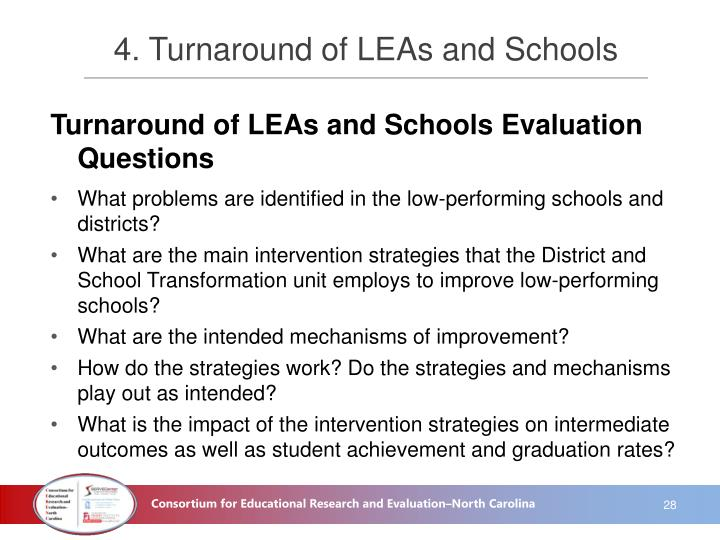 4. Turnaround of LEAs and Schools