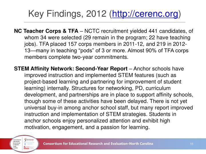 Key Findings, 2012 (