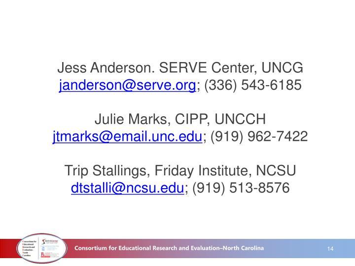 Jess Anderson. SERVE Center, UNCG