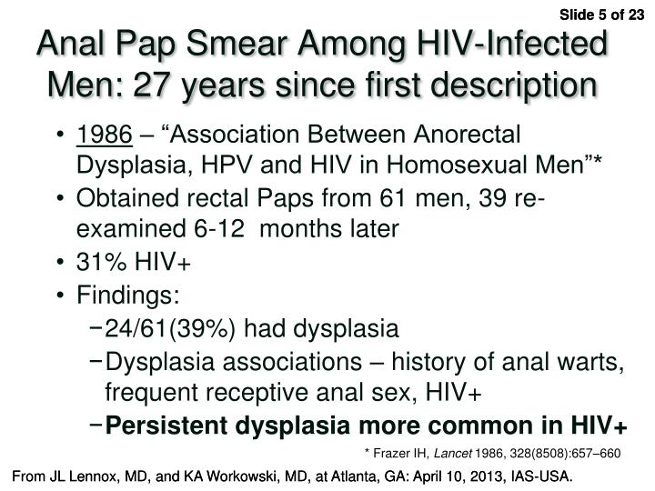 Anal Pap Smear Among HIV-Infected Men: 27 years since first description