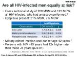 are all hiv infected men equally at risk