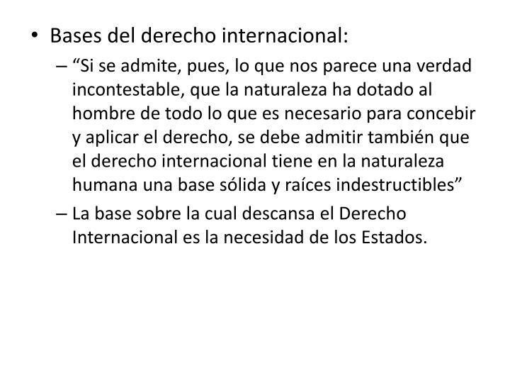 Bases del derecho internacional: