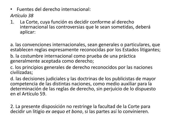 Fuentes del derecho internacional:
