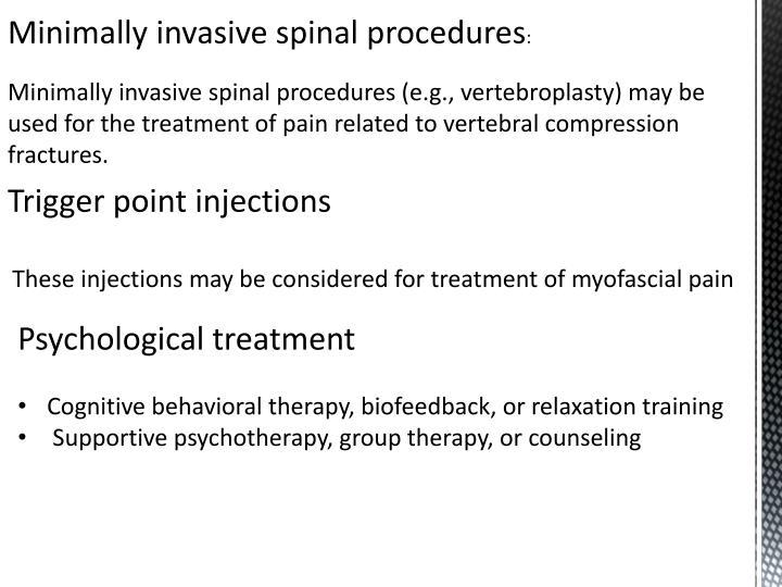 Minimally invasive spinal procedures