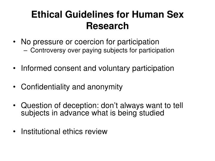 Ethical Guidelines for Human Sex Research